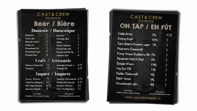 CAST & CREW BEER MENU