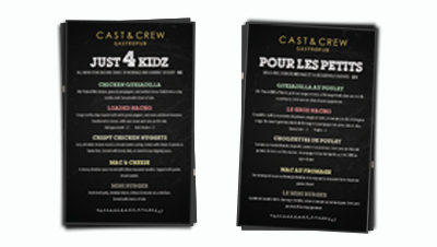 CAST & CREW KIDS MENU